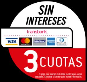 Pago Transbank con Tarjeta de Crédito 3 Cuotas sin Interés